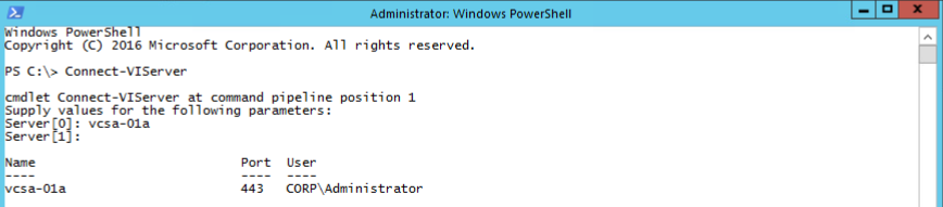 PowerShell vCenter Connect