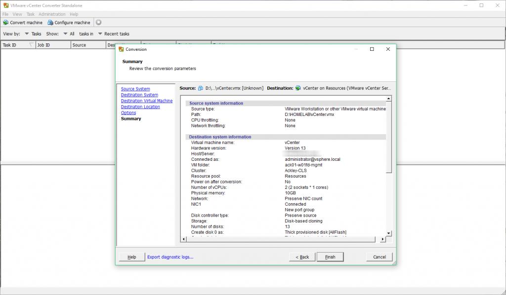 VMware vCenter Converter - Summary