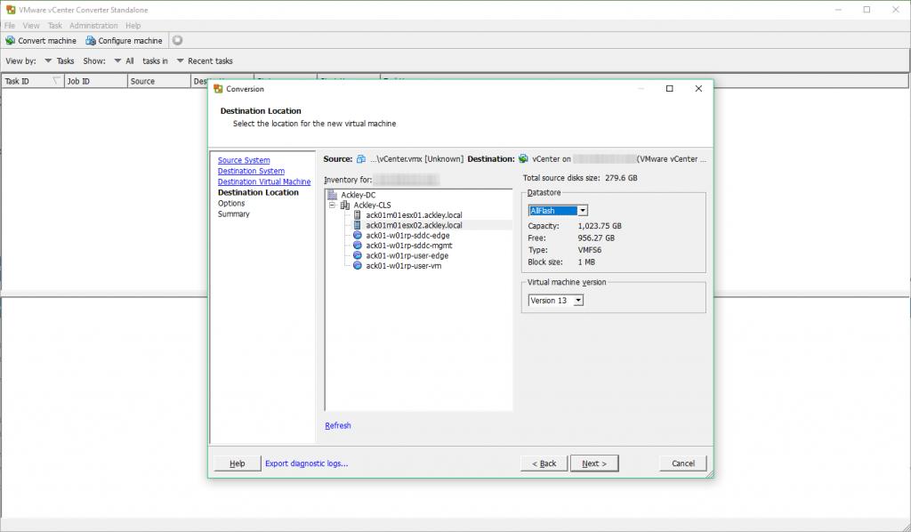 VMware vCenter Converter - Destination Location