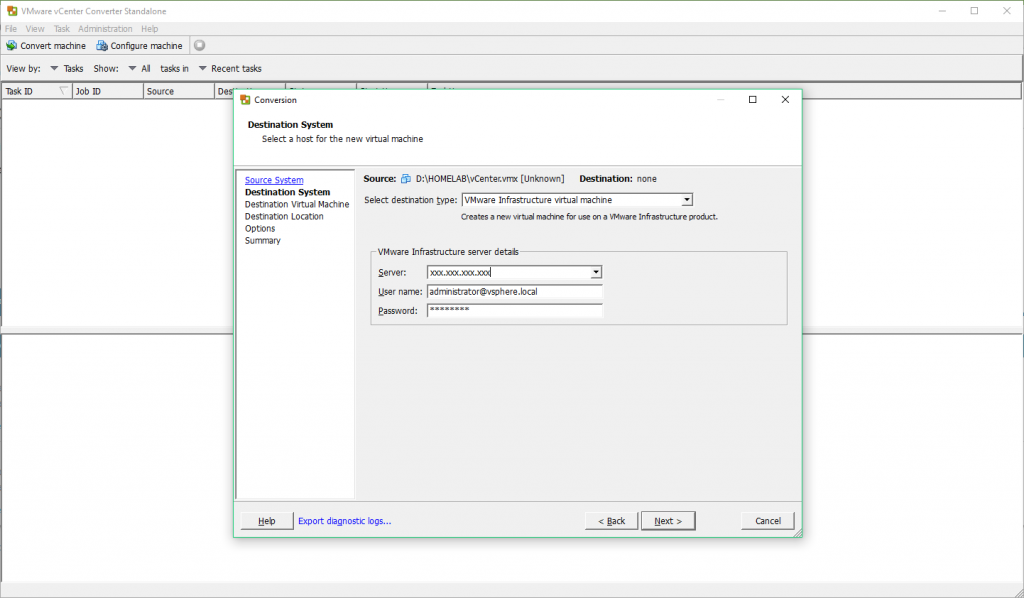 VMware vCenter Converter - Destination System