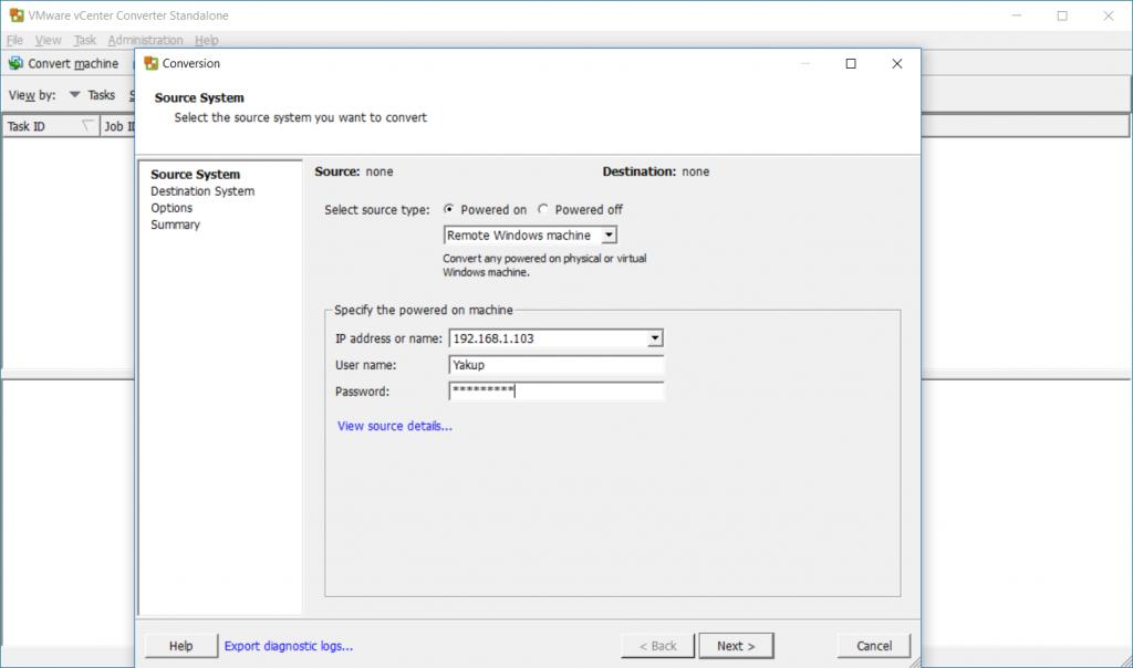 VMware vCenter Covnerter - Remote Windows Machine