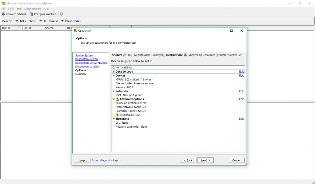 VMware vCenter Converter - Edit Parameters